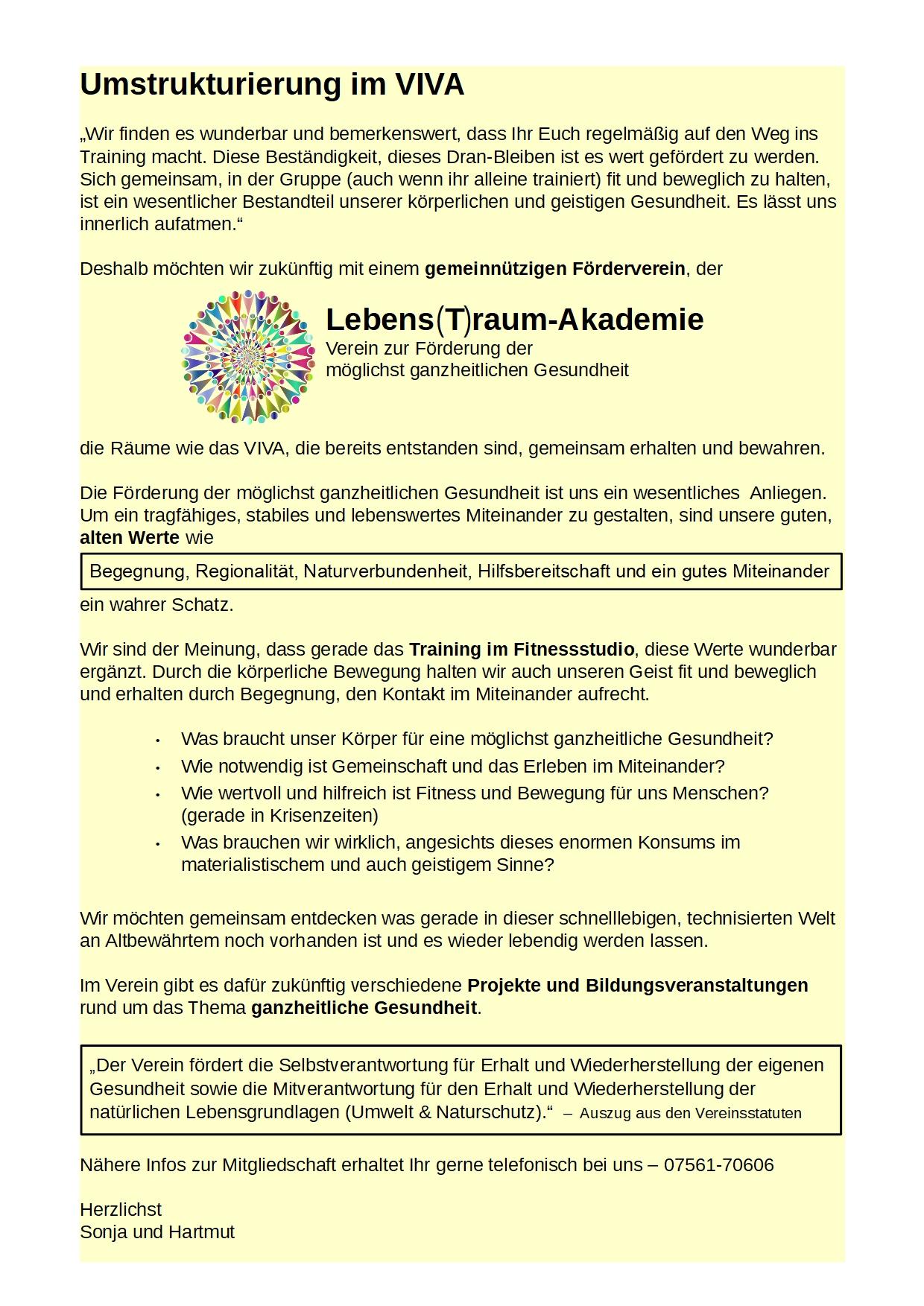 Text für Homepage - Übergang Verein - Format HA4